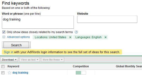 dog training google keyword tool